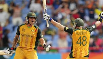 Fastest fifty runs partnerships Mike Hussey and Mitchell Johnson